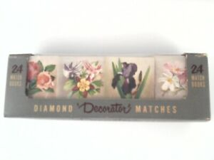 DIAMOND Decorator Matches 24 Match Books Floral Rose Lily Daisy VTG Decor NEW *