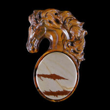 Carved Horse MOP & Gem Pendant Bead GC600037