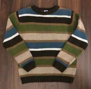 Gymboree Boys 6 Arctic Adventure Striped Brown Blue Pullover Sweater Sz 6 Wool