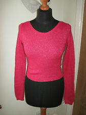 Abercrombie & and Fitch Kids HOT PINK SPARKLE KNIT CROP JUMPER top age 13-14 NEW