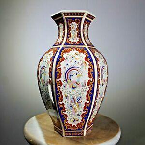 Chinese hexagonal ceramic vase peacock design porcelain antique reproduction