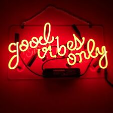 "Good Vibes Only Neon Sign Light Home Room Wall Poster Real Glass Tube Deco14""x9"""