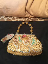 GOLD Women's Evening Party Bag Wedding Bridal Beaded Sequence Handbag Bags Purse