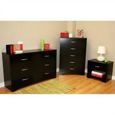 Black 3 Piece Dresser Chest Nightstand Bedroom Set Home Living Storage Furniture