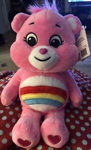 "Care Bears CHEER BEAR Stuffed Animal Plush Toy Pink Rainbow 9"". Small Stain."