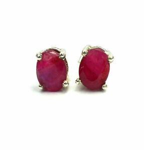 pretty red ruby earrings 925