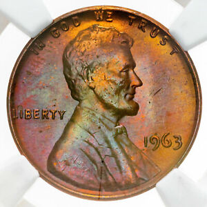 1963 LINCOLN MEMORIAL CENT NGC MS65RB UNC DEEP PURPLE BU TONED COLOR HIGH GRADE