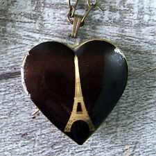 Paris Eiffel Tower Love Heart Brass Bronze Picture Photo Locket Pendant Necklace