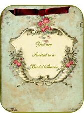 Vintage inspired 8 roses tea Bridal Shower invitations