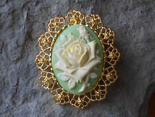 2 IN 1-  PALE YELLOW ROSE CAMEO BROOCH / PIN / PENDANT - UNIQUE, VINTAGE LOOK