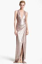 DONNA KARAN NY Collection Gold Metallic Sequin Deep V Neck Wrap Drape Gown 4/S