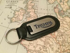 TRIUMPH Key Ring Etched and infilled On Leather MOTOR BIKE CYCLE