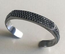Cuff With Black Diamonds, 10Mm Heirloom Unisex 925 Silver Streamline Heirloom