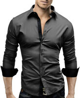 New Mens Casual Formal Shirts Slim Fit Shirt Top Long Sleeve M L XL XXL PS08