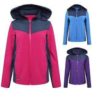 Ladies Soft Shell Full Zip Hooded Outdoor Fleece Type Jacket Top Size S M L XL