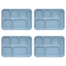 4x SiLite 6-Compartment Heavy Duty School Lunch Cafeteria Tray Light Blue 614R