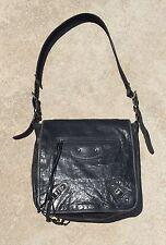 BALENCIAGA Black DIstressed Leather BESACE MESSENGER LARGE Shoulder Bag