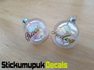 2x PERSONALISED Name Decals Vinyl Stickers Christmas Bauble Decoration 20colours