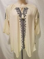 Style&co Woman Floral Peasant 3/4 Sleeve Off White Blue Top Blouse Plus Size 1X