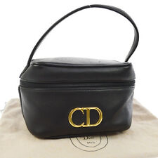 Authentic Christian Dior Cosmetic Hand Bag Vanity Black Leather Vintage AK15450a