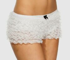 White Frilly Lace Ruffle Burlesque Boyshorts Knickers, One Size Fits Most (8-14)