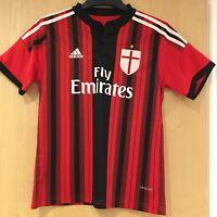 Boys AC Milan Shirt 2014-2015 Adidas Size UK26 Red Black Jersey Kit Fly Emirates