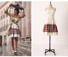 Floreat SZ 4 Anthropologie white linen stripe strapless Around the World dress