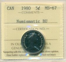 1980 Canada 5 Cent Certified ICCS MS-67, Very Affordable for New Hobbyist