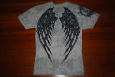 Men's Affliction Skeleton Wings / Cross Textured Graphic T-Shirt (X-Large)