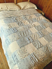 """Simply Shabby Chic Blue White Bohemian Patchwork Queen Quilt 88"""" X 96"""""""