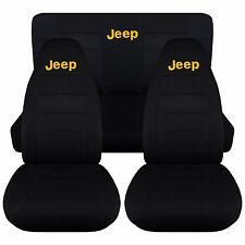 1997-2002 Jeep Wrangler TJ Seat Covers / Solid Black with Yellow JEEP