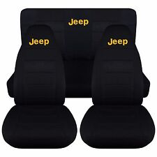 97-02 Jeep Wrangler TJ Seat Covers / Solid Black with Yellow JEEP