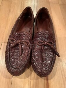 COLE HAAN Womens Size 9B Brown Woven Leather Bow Tassel Slip On Loafers