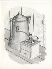 VINTAGE SPECKLED ENAMEL COFFEE POT BEAN GRINDER COUNTRY KITCHEN CARD ART PRINT