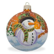 Snowman with Gift Glass Ball Christmas Ornament 3.25 Inches