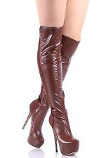 "Brown nn Fashion 6"" High Heels Zipper Womens Knee-High Boots Shoes Size 7"