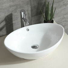 Oval Bathroom Porcelain Ceramic Vessel Sink Bowl Chrome Faucet Basin Combo White