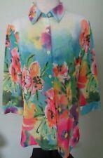 ERIN LONDON Womens Blouse Medium Floral Sheer Button Down Top NWT