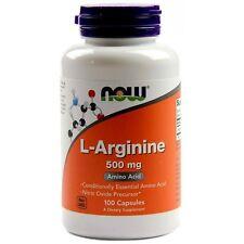 Now Foods L-Arginine 500mg 100 Caps Amino Acid Nitric Oxide Muscle Energy