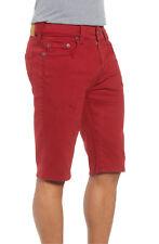 True Religion Ricky Relaxed Straight Shorts Mens 38 Red Denim Clean Hem