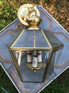 Hampton Bay Outdoor Brass Hanging Lamp Light Carriage House Light Glass Panels