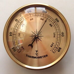 90mm Gold Bezel Thermometer Gold Dial Fit-up/Insert, Weather Instruments