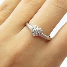 925 Sterling Silver Real Diamond Heart Ring Size 8