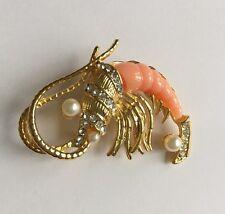 Vintage Hattie Carnegie Shrimp Brooch, Crayfish Figural - Unsigned