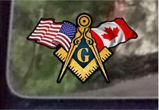 "ProSticker 087 (One) 3"" x 5"" American Canada Flags Masonic Decal Sticker USA"