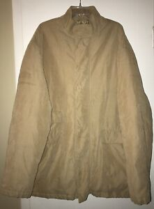 Pierre Cardin Soft Shell Jacket Coat  Tan Mens Large Zip Up And Snap