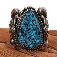 Natural Kingman Mens 9.5 Spidweweb Turquoise Ring Sterling Silver Delbert Gordon
