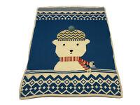 Pottery Barn Kids Winter Knit Throw Blanket Polar Bear Baby Holidays 38x30