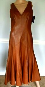 New NWT $4,998 Ralph Lauren Collection Purple Label Leather Dress IT 42 / US 6