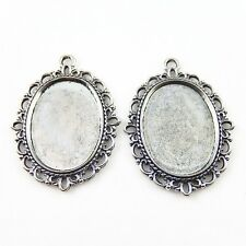 8pcs Lace Cameo Alloy Tray Base Vintage Silver Charms Pendants Jewelry Making